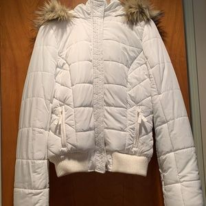 Adorable white puffer jacket